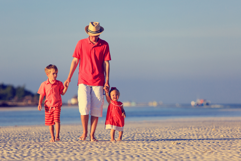 Divorced Father Walking with Children in Huntington Beach, CA