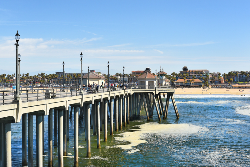 Daytime at Huntington Beach Pier in California