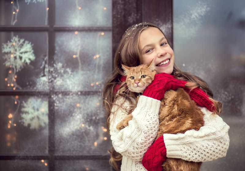 Young Girl with Cat on Stress Free Christmas