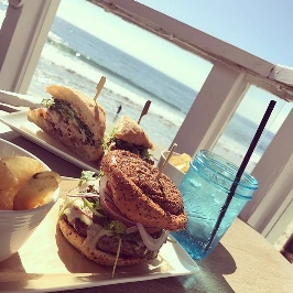 Burgers at The Deck Restaurant in Laguna Beach, CA